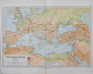 CLASSICAL MAP ROMAN EMPIRE AD 1-300 HISPANIA ITALIA BRITANNIA GERMANIA GALLIA