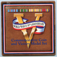 1991 - 1995 World War II Coin & Victory Medal Set US Mint 50th Anniversary BL89
