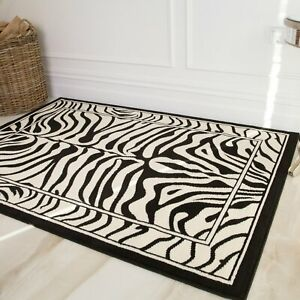 Retro Black & White Zebra Print Area Rugs Soft Non Shed Animal Print Carpet Rug