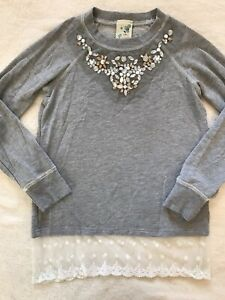 Girls LILY BLEU Gray Jeweled Lace Accent Shirt - Sz 10 - EUC