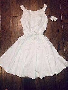 NWT Calvin Klein Petite Size 4p White Sleeveless Belted Pleated Cotton Dress
