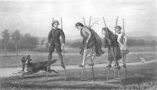 COUNTRY FARM KIDS Children PLAY on STILTS ~ Old 1876 Art Print Engraving