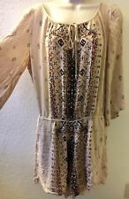 ECI New York Romper Printed Cold Shoulder Boho Tan Womens Size Large