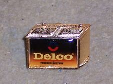 Vintage Delco Battery Pin Black Gold Tone Battery Shaped Lapel Pin Automobilia