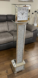 Tall Square Mirror Silver Diamante Jewel Crystal Gem Grandfather Standing Clock