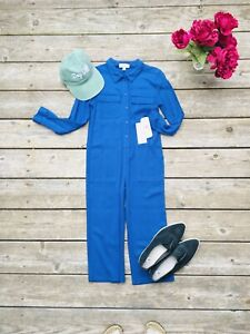 GB Girls Blue Twill Utility Jumpsuit Boiler Suit $49 Size Small Girls Rayon