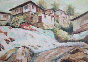 2006 Contemporary gouache & watercolor painting landscape signed