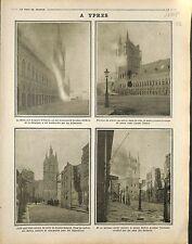 Ruines Incendie Beffroi la Halle aux Drapier d'Ypres /Artillery Kaiser 1916 WWI