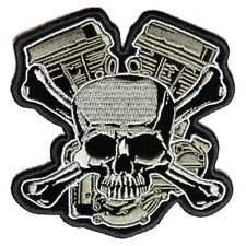 Embroidered Skull and Cross Bones with Engine Iron on Sew on Biker Patch Badge