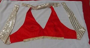 Red Bra Saree Blouse India Top halter Choli Belly dance club women ethnic ATS