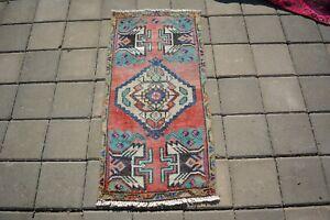Turkish Small Rug,1.6x3.3ft ,Vintage Bath Mat,Antique Door Mat,Handmade Old Rug,