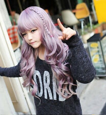 Mix Purple Japanese Harajuku Zippe Curly Long Women Lady Cosplay Full Hair Wig