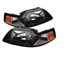 1999 2000 2001 2001 2002 2003 2004 Mustang Black Amber Crystal Headlights NEW