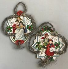 2 Antique German Christmas Decorations Lithograph Die Cut Wire Tinsel 1800s