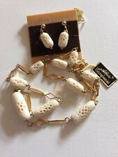 ALICE CAVINESS Cream Lozenges & GF Necklace and Earrings Demi Parure