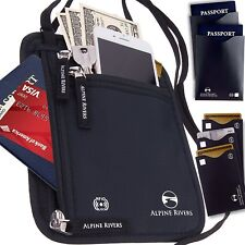 Porta Pasaporte Cartera De Cuello Bolsa de viaje RFID bloqueo 5 Mangas de bonificación extra Reino Unido