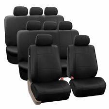 Black Premium PU Leather 8Seater 3 Row Full Set Seat Covers Split Bench Auto