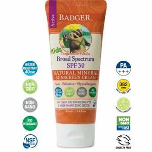 Badger SPF 30 Kids Sunscreen Cream with Zinc Oxide 2.9 oz  -Exp 06-30-2021