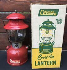 VINTAGE COLEMAN LANTERN RED MODEL 200 7-65 JULY 1965 GLOBE SUNSHINE W BOX