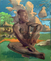 """Nude Male Man African American Cubist Oil Painting 18""""x24"""" Signed Gay Interest"""