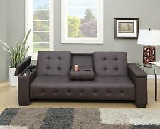 Espresso Faux Leather Adjustable Futon Sofa Bed Center Console