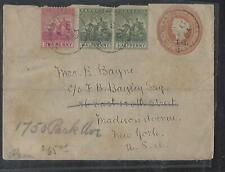 BARBADOS COVER (P0112B) 1903 QV 1/2D/1D PSE+ BRITANNIA 1/2DX2+1D COVER TO USA