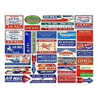 Air Mail Label Stickers, REPRODUCTION Stationary & Gift Making Stickers, 1 Sheet