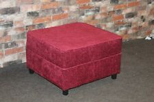BERRY RED VELVET CHENILLE FABRIC, SQUARE FOOTSTOOL, 17 STORIES (530)