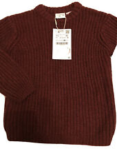Brand New Boy's Zara Cable Knit Jumper, Size 2-3 years, Burgundy