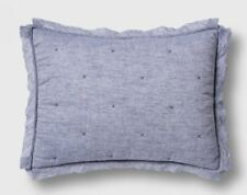 THRESHOLD Linen Blend Tufted Pillow Sham,  NEW, Standard, Blue