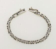 "z Solid Silver Byzantine Genuine Sterling Silver Bracelet 8.0"" 5 mm 22gm Unisex"