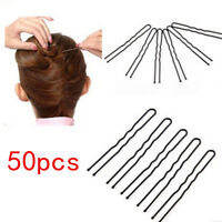 50pcs 6CM Black Hair Waved U-shaped Bobby Pin Barrette Salon Grip Clip Hairpins