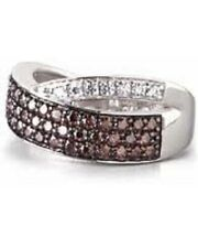Fancy Brown and White Swarovski CZ Sterling Silver Ring by Lenox Size 8 New