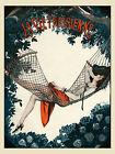 Vie Parisienne Cover Fashion Reading Book Garden Vintage Poster Repro FREE S/H