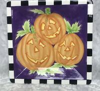 "Handpainted Ceramic Halloween Pumpkin Serving Tray Dish 13""x13"" Jack-O-Lantern"
