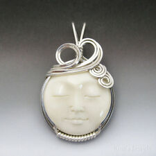 Moon Face Carved Bone (bovine) Cameo Sterling Silver Wire Wrapped Pendant