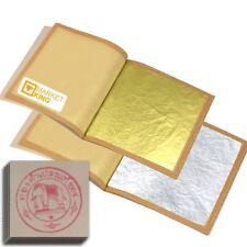 X-LARGE 50 pc 24 Karat Edible Gold Leaf & 50 pc Silver Leaf for Cooking Art LOT