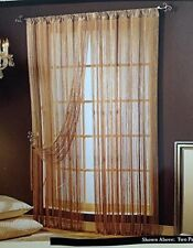 "New Allegro String Curtain Panels Fringe Curtains Set of 2 White Drapes 42"" x 84"