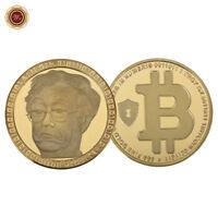 WR Moneda conmemorativa de BTC de Bitcoin coleccionable de oro de 24 k