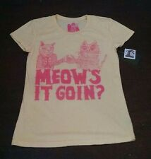 Blood is the New Black Cat T-shirt Meows it Going Womens L Yellow Pink New