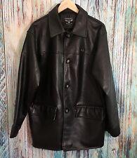 Reportage R.G.A. A0305 Buttery Soft Vegan Faux Black Leather Coat Jacket Mens L