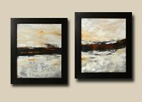 "A Pair of Framed Original Acrylic Abstract Art on Canvas by Hunoz. 2 - 20""x 24"""