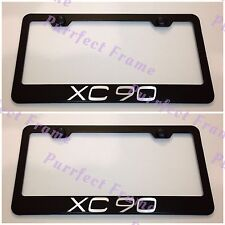 2X VOLVO XC 90 XC90 Black Stainless Steel License Plate Frame Rust Free W/Cap