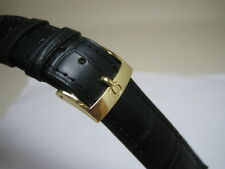 20MM BLACK LEATHER STRAP BAND YELLOW GOLD SMALL LOGO BUCKLE FOR OMEGA WATCH