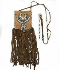 Necklace Stash Pouch Purse Leather Silver Pearl Suede Fringe Festival Psy Dance