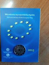 GRIEKENLAND GREECE HELLAS COINCARD 2 EURO 2015 30 YEARS EU FLAG