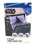 Disney Star Wars 3-Piece Sheet Set Blue Microfiber (Twin Set)