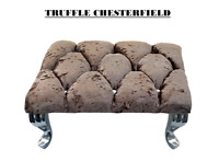 Crushed Velvet Truffle Chesterfield Footstool Square Diamante Queen Anne Legs