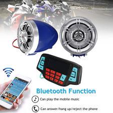 1 Pair 12V Motorcycle Bike Audio System Bluetooth USB FM Radio MP3 Music Speaker