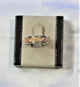 14K Yellow & White Gold Comfort Fit Scroll Design Men's Ring Size 9.5